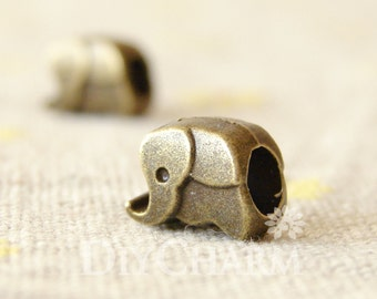 Bronze Tone Elephant Beads With 4.5mm Holes For Bracelet 10x8mm - 10Pcs - AR26783