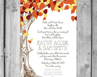Fall Love Tree Wedding Invitation Set