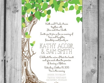 Lush Green Love Tree Wedding Invitation Set