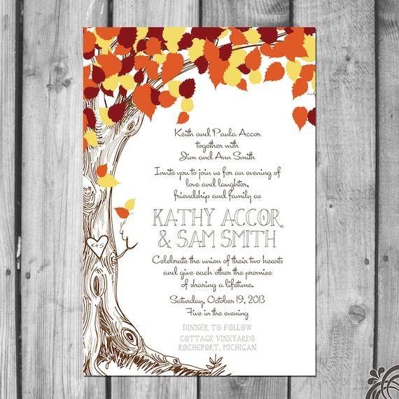 Wedding Invitation Tree: Fall Love Tree Wedding Invitation Set