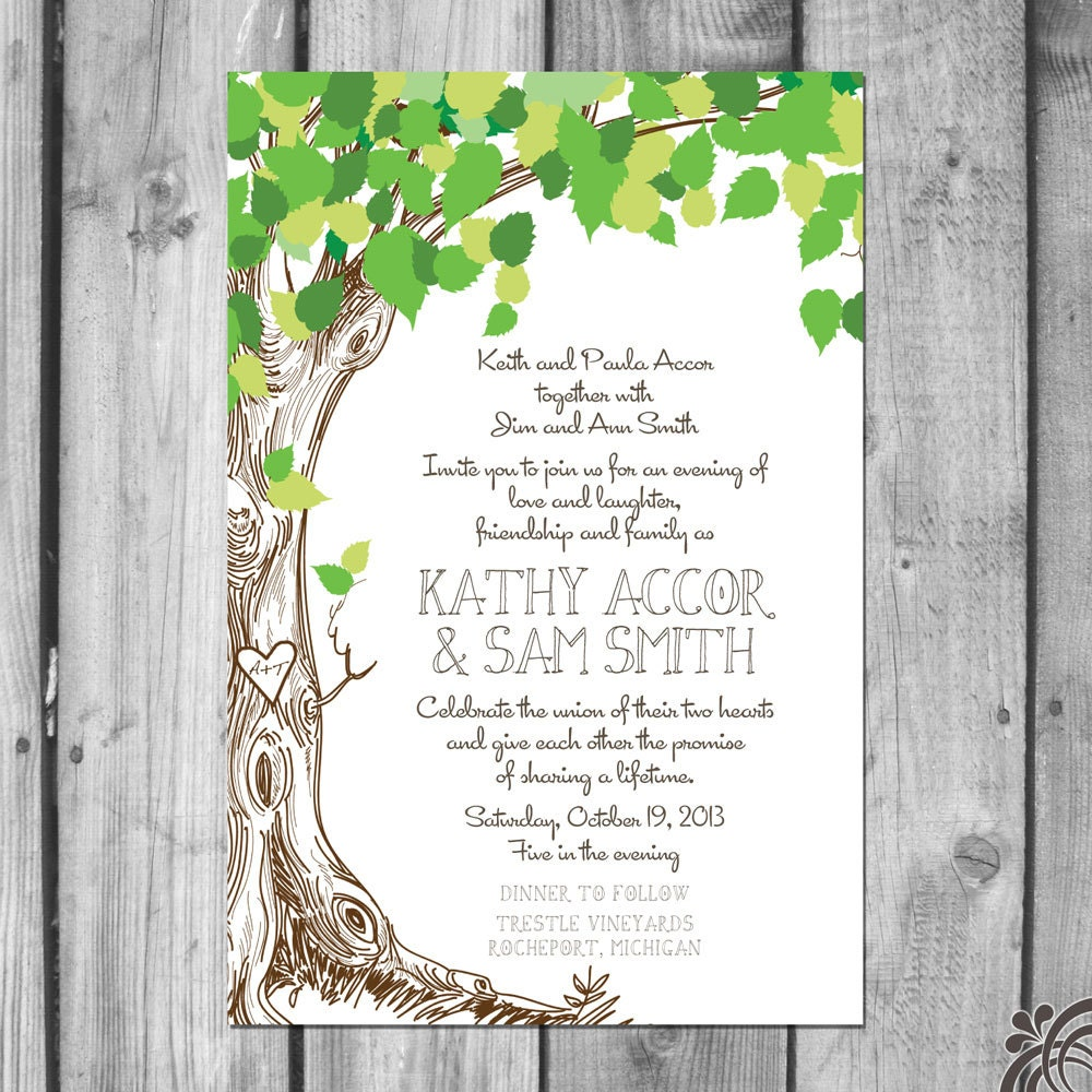 Tree Wedding Invitations: Lush Green Love Tree Wedding Invitation Set