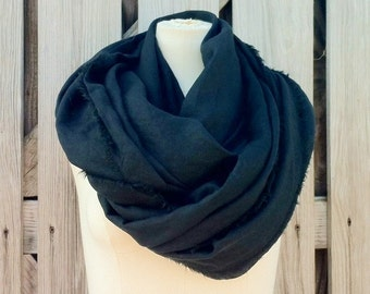 Flash SALE - MAD MAX Scarf - Black Long Linen Scarf - Black Flax Scarf - Unisex - Linen Flax - Last One