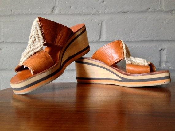 Macrame Shoes Vintage 1970s 70s