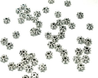 4mm daisy spacer bead, silver, 80pcs