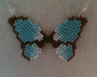 Hand Beaded Butterfly Necklace Pendant