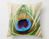 Decorative Pillow Cover, Photo Pillow Case, Accent Pillow Case, Peacock Feather Pillow, Blue Green Purple Pillow, Home Decor, 16 18 20 inch