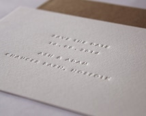 Inkless save the Date Cards // Set of 45. Made to order - blind debossed letterpress