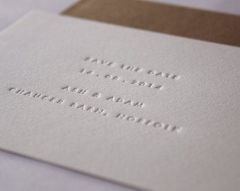 Inkless save the Date Cards // Set of 45. Made to order - blind debossed letterpress