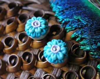 Cornflower Stud Flower Earrings with Swarovski Crystals
