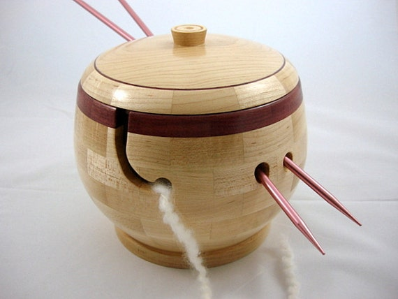 Knitting Bowls Wood : New lidded wooden knitting and yarn bowl by twistedtimber