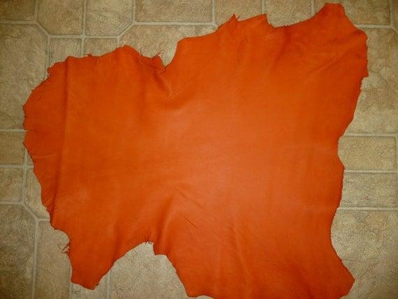 "Bright Orange Cationic FINISHED Fine Grained KID Goatskin Leather 4.25 sqft 26""x22"" Goat hide K"