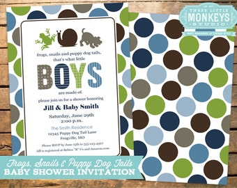 Frogs Snails and Puppy Dog Tails Baby Shower Invitation PLUS Matching Thank You Note