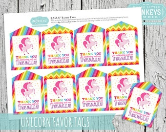 INSTANT DOWNLOAD Magical Rainbow Unicorn Favor Tags