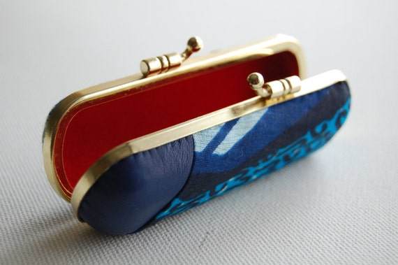 Lipstick Case // Jewellery Holder // Coin Purse // Navy blue Leather and Wax Printed Cotton