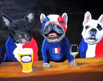 "French Bulldog Art Print of an original oil painting / ""The Soccer Hooligan Bar & Grille""/ 8 x 10 /Dog art"