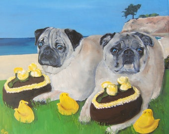 """Pug Art PPRINT of an original oil painting """"My Easter Candy, NOT Yours"""" - 8x10 -DogArt-signed original"""