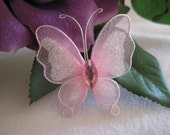 SALE 12 Pink Nylon Butterflies for Wedding Accessories, Party Favors, Christening, Embellishments, Crafting, 2 inches / 50 mm, 12 pieces