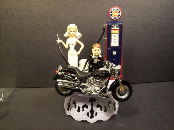 Harley fat boy gas pump bike bride amp groom wedding cake topper