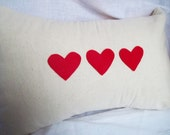 Heart Pillow Cover, Valentines Pillow cover, Applique heart pillow, valentines decor, valentines day home decoration, valentines pillow