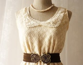 Little Lace Dress Cream Beige Vintage Inspired Dress