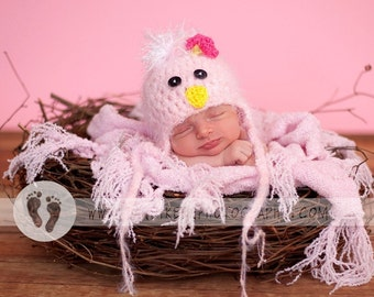 READY Baby Girl Hat -  Baby Bird Hat Earflaps & Ties- Soooo Soft - Great Texture and Flower Clip 0-3, 3-6, 6-9
