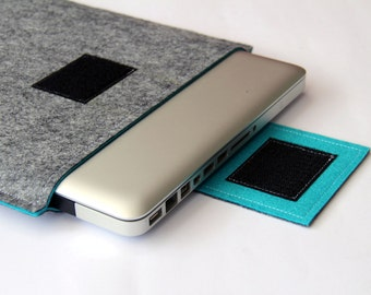 "13"" inch Apple Macbook Pro laptop Sleeve Case Cover - Gray & Turquoise - Weird.Old.Snail"