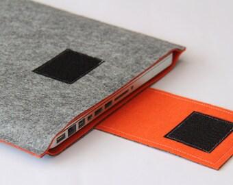 "Felt Sleeve for 13"" MacBook, 12 inch macbook sleeve, MacBook Pro Case - Gray & Orange - Weird.Old.Snail"