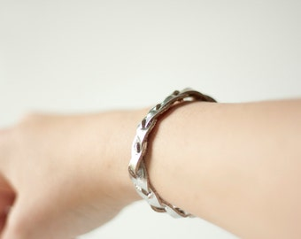 Braided Leather Bracelet / Silver / Metallic