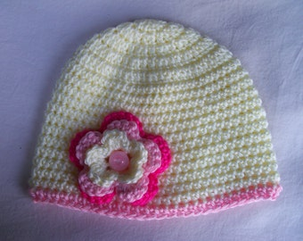 Crochet baby beanie size 3 to 6 mos - an adorable baby shower gift, available now