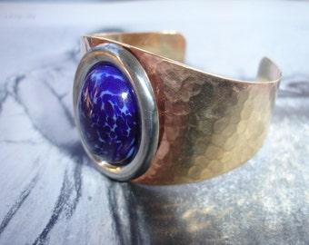 Blue Lapis Hammered Brass Cuff Bangle Bracelet, Vintage Brass, Vintage Glass Japanese Cabochon, Spring Fashion, Bohemian, Limited Edition