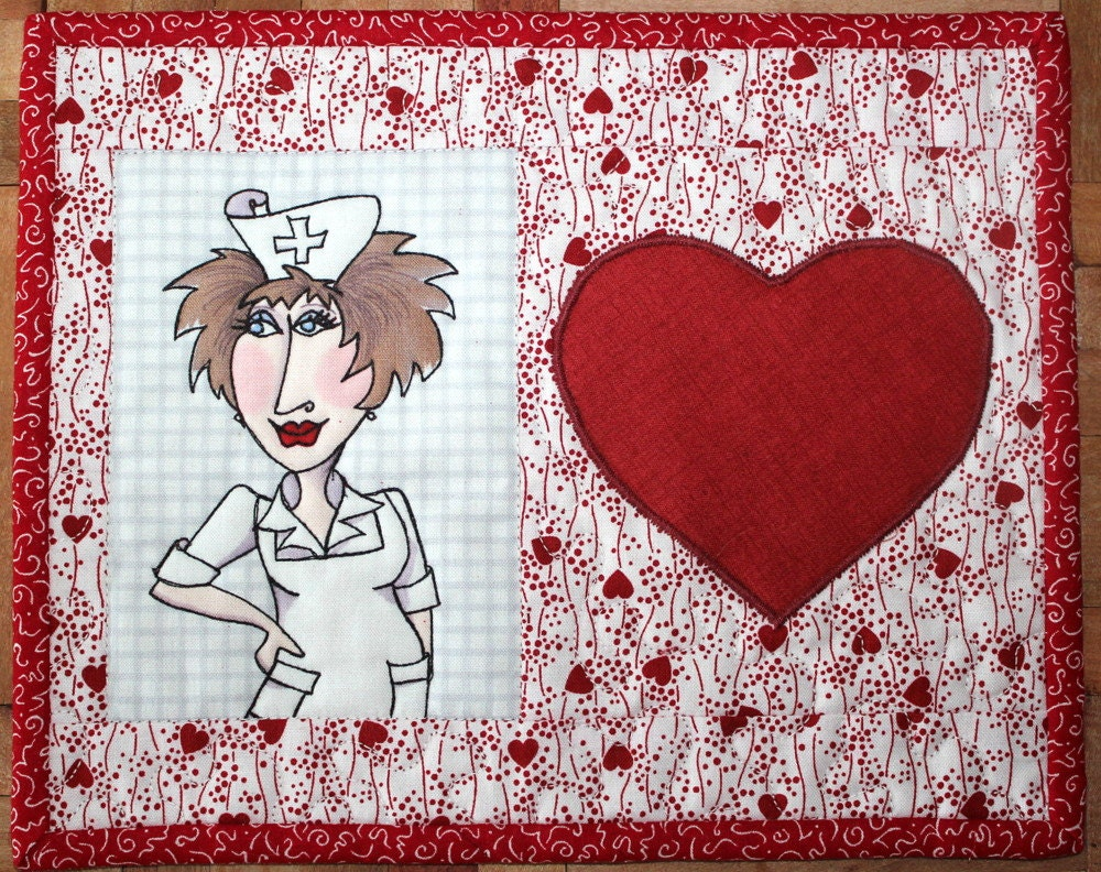 Nifty Nurse Mug Rug Quilted Mini Placemat Loralie Design