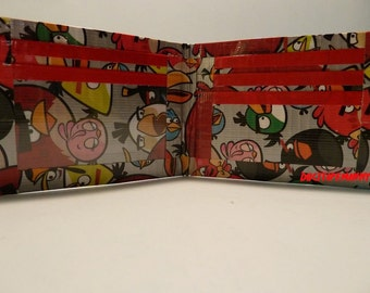 handmade duct tape wallet with angry birds all over it