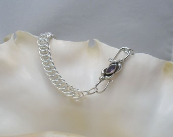 Iolite and Sterling Silver Clasp on Argentium Silver Half-Persian 4-in-1 Bracelet