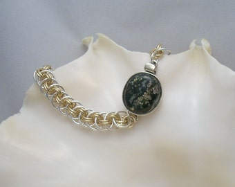 Ocean Jasper Box Clasp on Argentium  Silver and Gold Filled Chainmaille - Handmade
