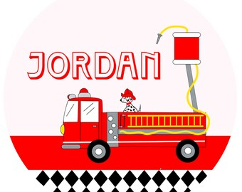 Personalized FIRETRUCK PLATE, Firefighter Birthday, Melamine, custom Party Plate by Libby Lane Press