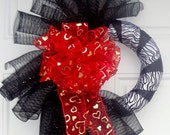 Black spiral Valentines Day  Sheer Heart Bow Mesh Wreath