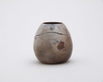 Miniature smoke fired porcelain vessel made in Ireland