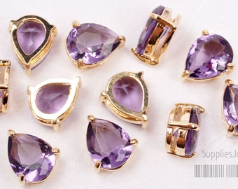 F116-G-AM// Amethyst 16k Gold Plated Framed Faceted Teardrop Glass Pendant, 2 pcs