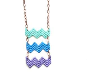 Chevron Lace Statement Necklace in Mint Green Blue Purple