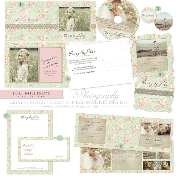 Joli Millesime, Vintage Rose and Lace Photography or Boutique Marketing Set- Moo Stickers, Etsy Banner, CD Covers, Gift Certificates