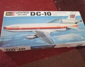Vintage Revell Hobby Model United Airlines DC-10 Boxed Airplane Complete 1960's or 70's