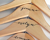 11 - Personalized Bridesmaid Hangers - Engraved Wood