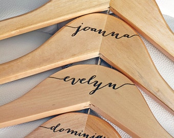 5 - Personalized Bridesmaid Hangers - Engraved Wood