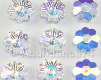 Swarovski Crystal 3700 Margarita ,Marguerite lochrose ,Flowers Beads CLEAR AB - Available in 6mm, 8mm, 10mm, 12mm and 14mm