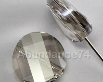 4 pcs Swarovski Crystal 5621 Twist Beads 14mm Crystal Silver Shade