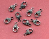 5 Lobster Heart Clasps, Lead, Cadium and Nickel Free - Large Size - Antique Silver Metal Finish -Decorative Design - - Set of 5
