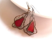 Artistic stained glass earrings copper wire jewelry red eccentric contemporary funky earrings