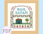 PDF Cross Stitch Sampler Pattern Hail Satan INSTANT DOWNLOAD