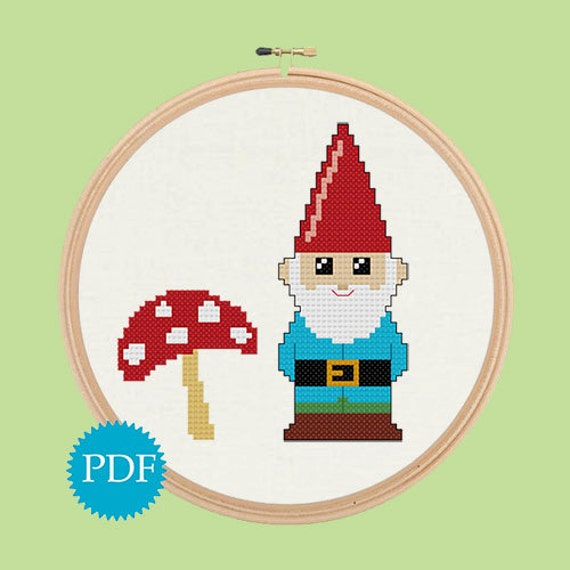 Cute Gnome and Mushroom cross stitch pattern PDF INSTANT DOWNLOAD