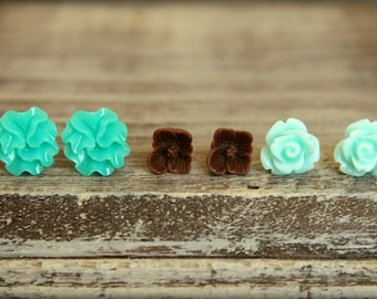 Flower Earring Studs Trio: Turquoise Ribbon Flower, Chocolate Sakura Blossom, Seafoam Rose